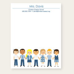 personalized teacher notepad | blue school uniforms