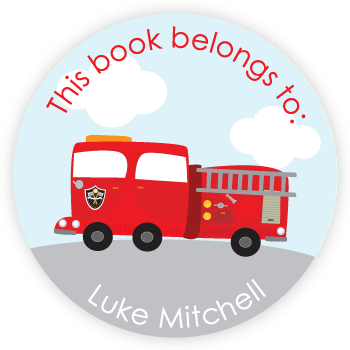 personalized bookplates | fire truck