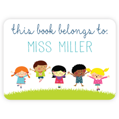 personalized bookplates | kids jumping