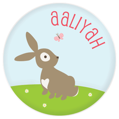 personalized kids plate | cheerful bunny