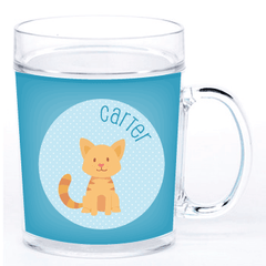 personalized cup | cat - blue polka dots
