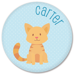personalized kids plate | cat - blue polka dots