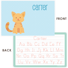 personalized kids placemat | cat - blue polka dots