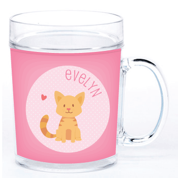 personalized cup | cat - pink polka dots