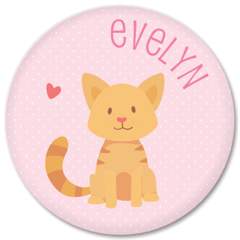 personalized kids plate | cat - pink polka dots