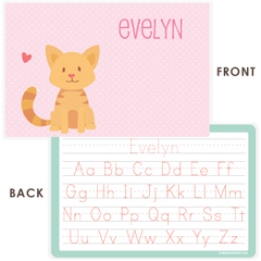 personalized kids placemat | cat - pink polka dots