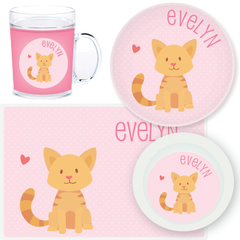 personalized mealtime set | cat - pink polka dots