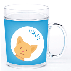 personalized cup | cat face - blue