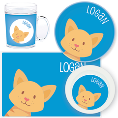 personalized mealtime set | cat face - blue