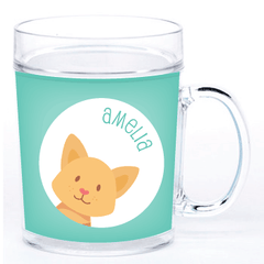 personalized cup | cat face - green