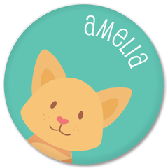 personalized kids plate | cat face - green