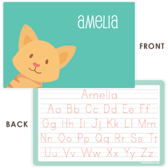 personalized kids placemat | cat face - green