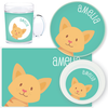 personalized mealtime set | cat face - green