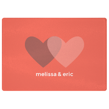personalized cutting board | coral hearts