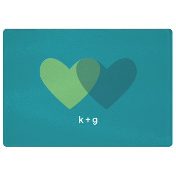personalized cutting board | teal hearts