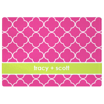 personalized cutting board | pink quatrefoil