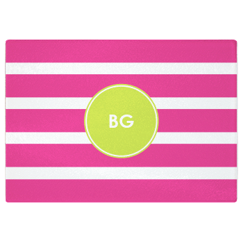 personalized cutting board | pink stripes