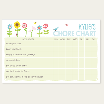 chore chart notepad | flowers