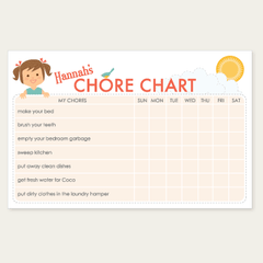 custom chore chart notepad | girl