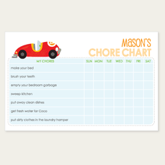 chore chart notepad | race car