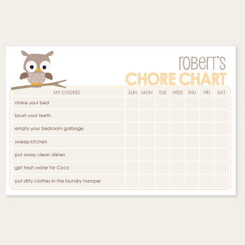chore chart notepad | natural owl