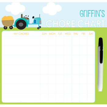 customized chore chart | tractor