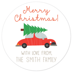 circle gift labels | tree on car