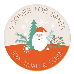 personalized cookies for Santa plate | Santa with evergreens