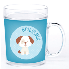 personalized cup | dog - blue polka dots