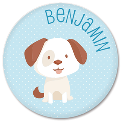 personalized kids plate | dog - blue polka dots