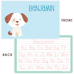 personalized kids placemat | dog - blue polka dots