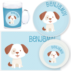 personalized mealtime set | dog - blue polka dots