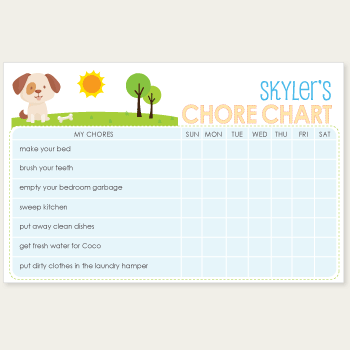 chore chart notepad | dog