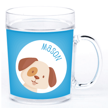 personalized cup | dog face - blue
