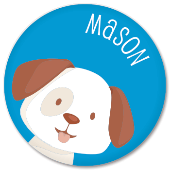 personalized kids plate | dog face - blue