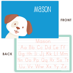 personalized kids placemat | dog face - blue
