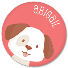 personalized kids plate | dog face - pink
