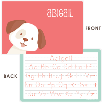 personalized kids placemat | dog face - pink