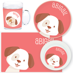 personalized mealtime set | dog face - pink
