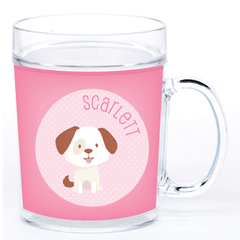 personalized cup | dog - pink polka dots