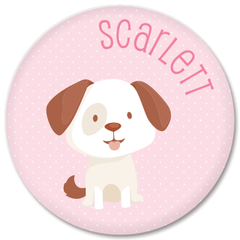 personalized kids plate | dog - pink polka dots