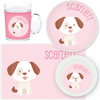 personalized mealtime set | dog - pink polka dots