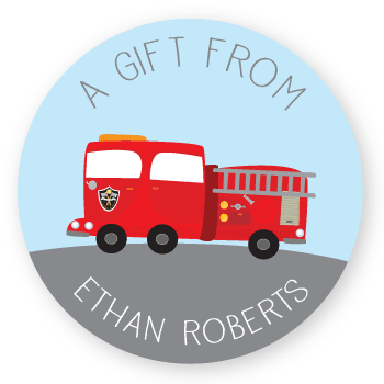 gift labels | fire truck