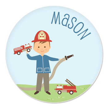 personalized childrens plate | firefighter