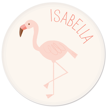 personalized kids plate | flamingo