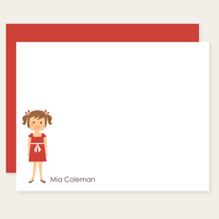 custom childrens flat cards | girl