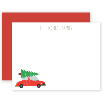 personalized note cards | tree on car