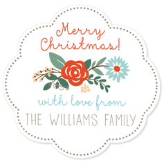 "Christmas floral gift labels | 3"" wide"