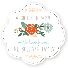 "floral gift labels | 3"" wide"