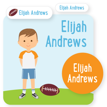 custom name labels | football
